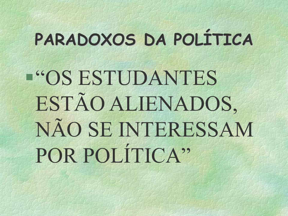 PARADOXOS DA POLÍTICA OS ESTUDANTES ESTÃO ALIENADOS, NÃO SE INTERESSAM POR POLÍTICA