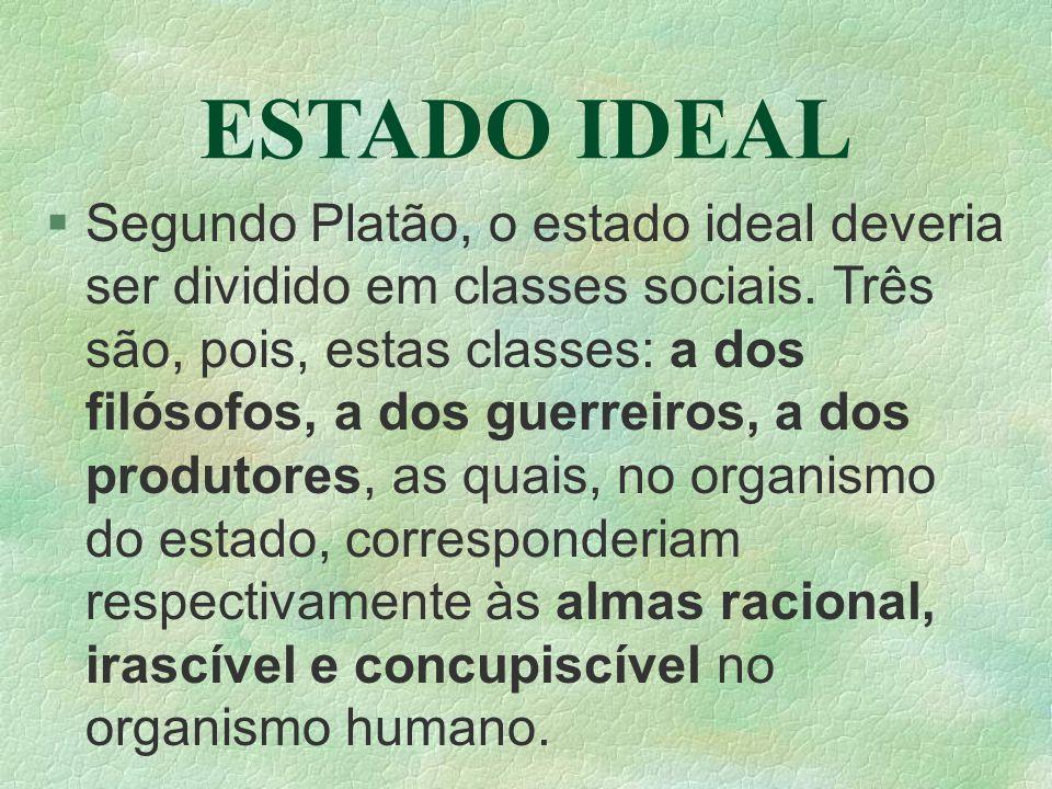 ESTADO IDEAL Segundo Platão, o estado ideal deveria ser dividido em classes sociais. Três são, pois, estas classes: a dos filósofos, a dos guerreiros,