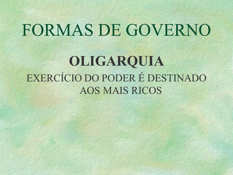 FORMAS DE GOVERNO OLIGARQUIA EXERCÍCIO DO PODER É DESTINADO AOS MAIS RICOS