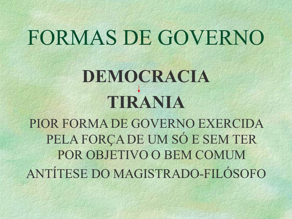 FORMAS DE GOVERNO DEMOCRACIA TIRANIA PIOR FORMA DE GOVERNO EXERCIDA PELA FORÇA DE UM SÓ E SEM TER POR OBJETIVO O BEM COMUM ANTÍTESE DO MAGISTRADO-FILÓSOFO