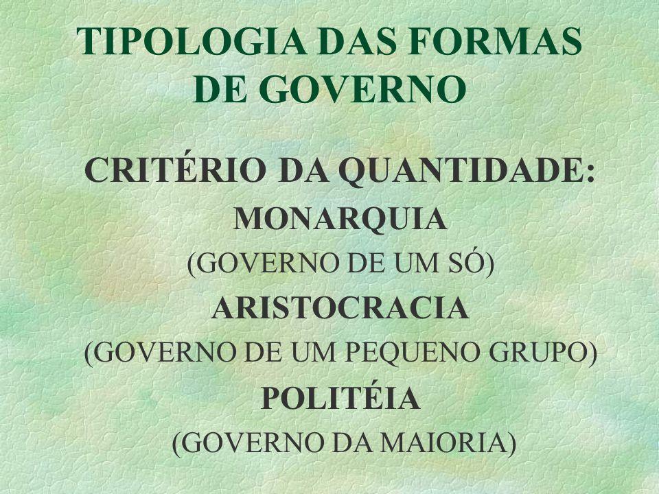 CRITÉRIO DA QUANTIDADE: MONARQUIA (GOVERNO DE UM SÓ) ARISTOCRACIA (GOVERNO DE UM PEQUENO GRUPO) POLITÉIA (GOVERNO DA MAIORIA)