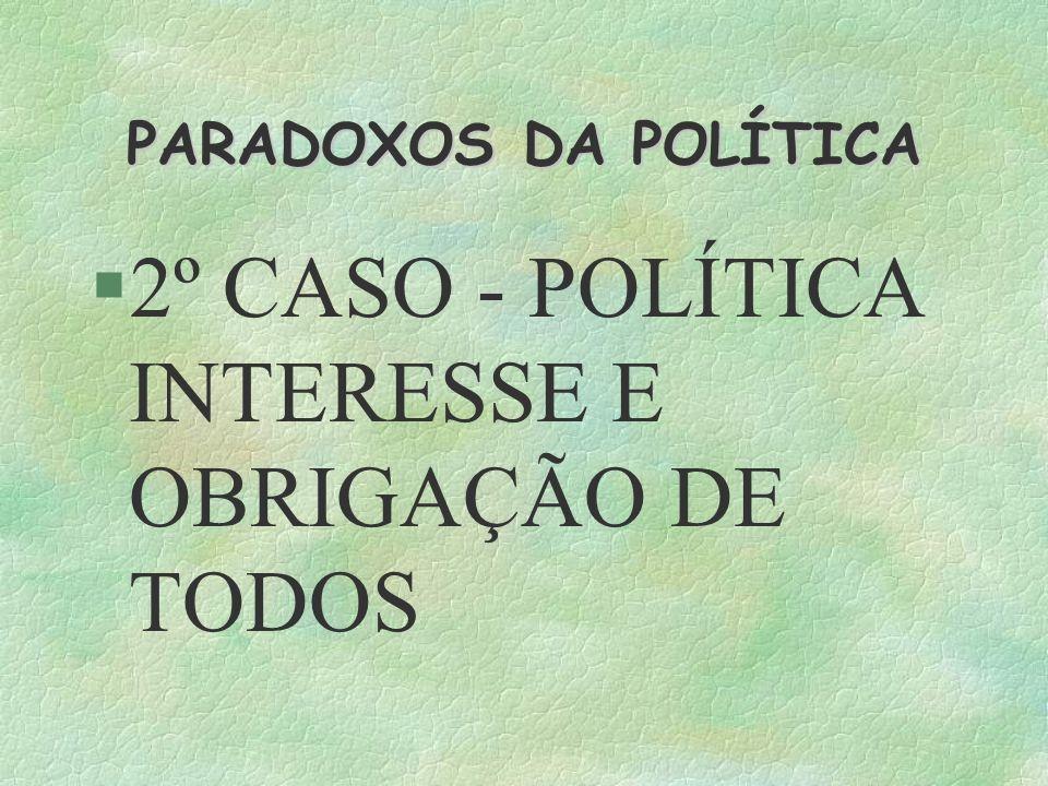 PARADOXOS DA POLÍTICA 2º CASO - POLÍTICA INTERESSE E OBRIGAÇÃO DE TODOS