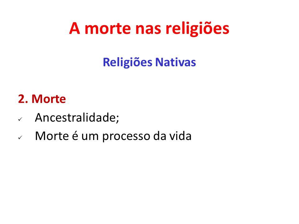 A morte nas religiões Religiões Nativas 2. Morte Ancestralidade; Morte é um processo da vida