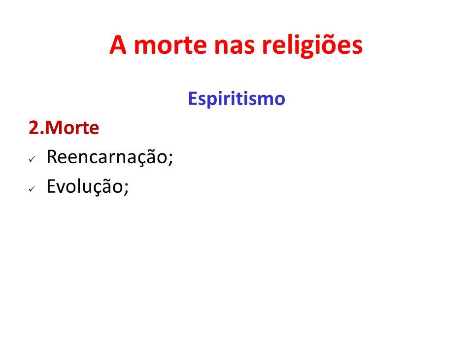 A morte nas religiões Espiritismo 2.Morte Reencarnação; Evolução;