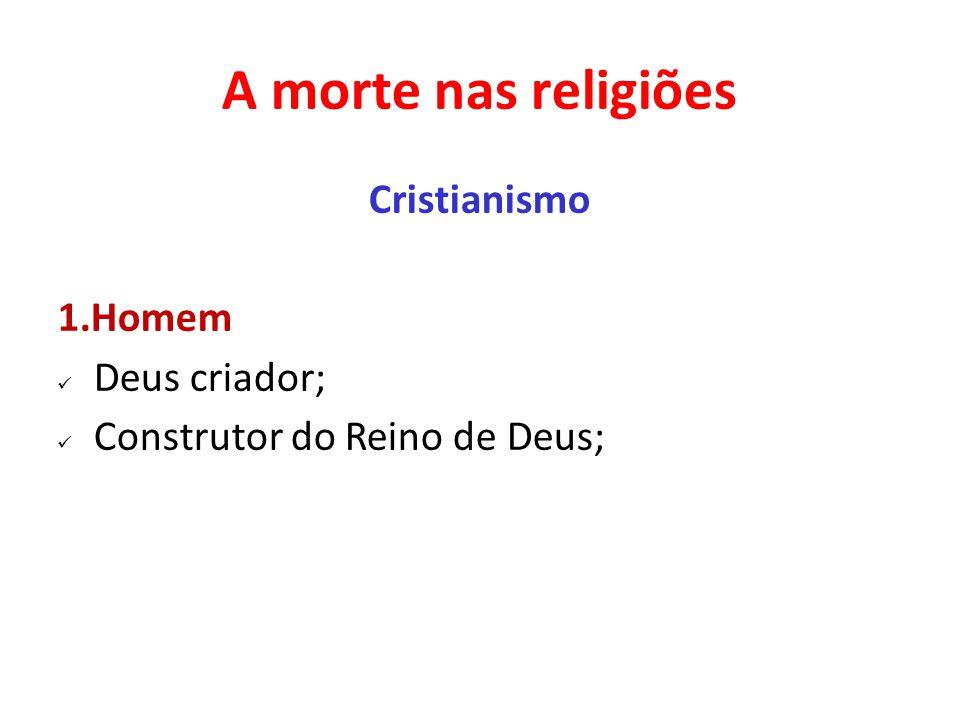 A morte nas religiões Cristianismo 1.Homem Deus criador; Construtor do Reino de Deus;
