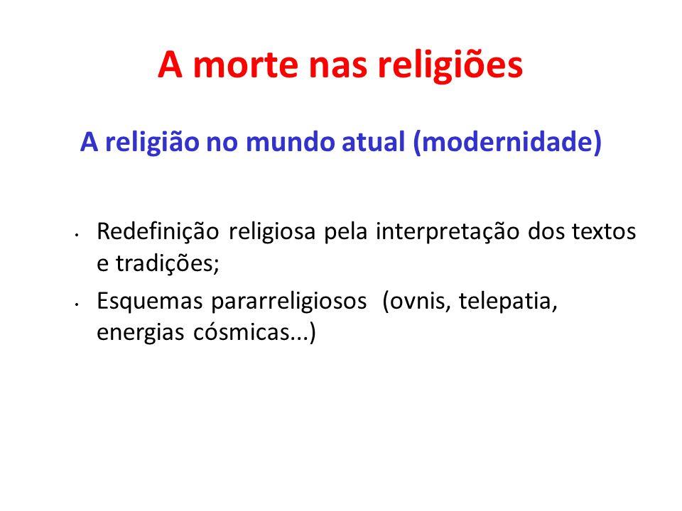 A morte nas religiões A religião no mundo atual (modernidade) Redefinição religiosa pela interpretação dos textos e tradições; Esquemas pararreligioso