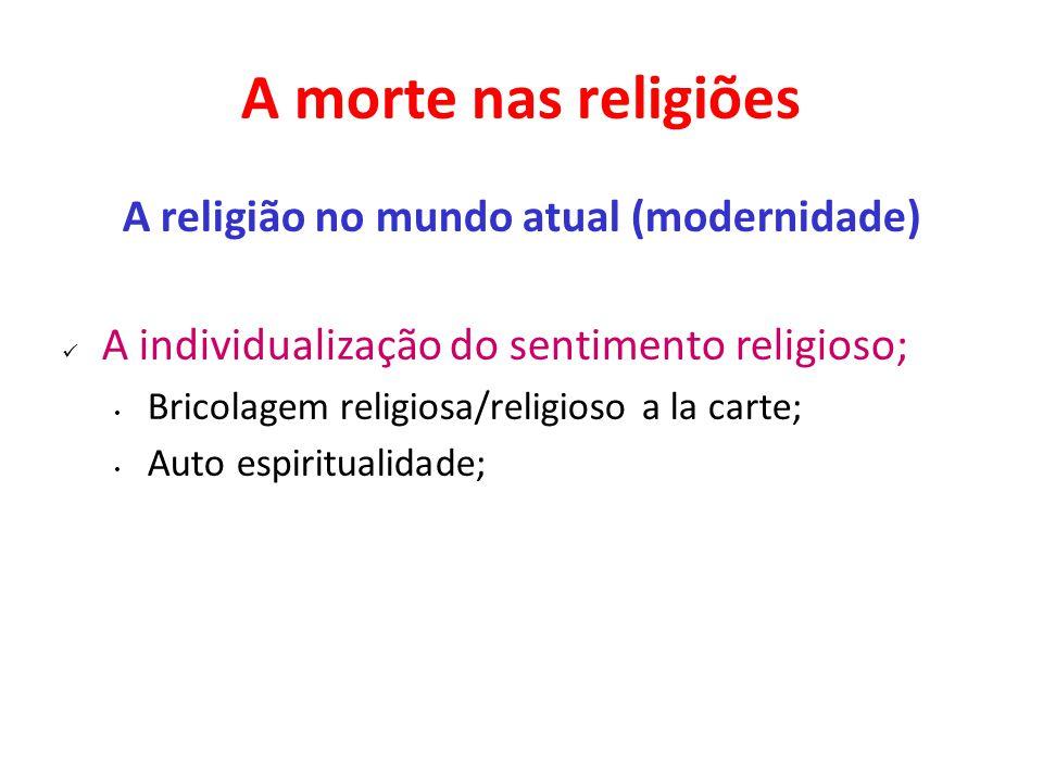 A morte nas religiões A religião no mundo atual (modernidade) A individualização do sentimento religioso; Bricolagem religiosa/religioso a la carte; A