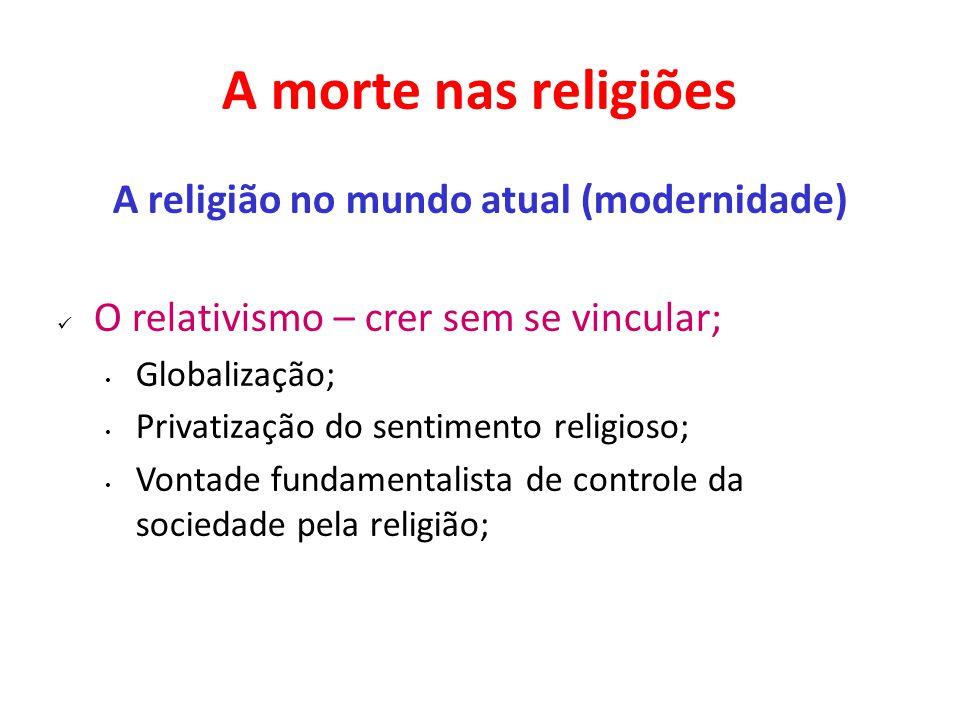 A morte nas religiões A religião no mundo atual (modernidade) O relativismo – crer sem se vincular; Globalização; Privatização do sentimento religioso; Vontade fundamentalista de controle da sociedade pela religião;