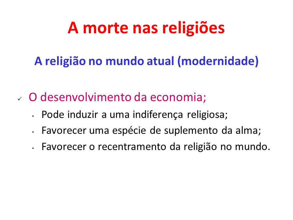 A morte nas religiões A religião no mundo atual (modernidade) O desenvolvimento da economia; Pode induzir a uma indiferença religiosa; Favorecer uma espécie de suplemento da alma; Favorecer o recentramento da religião no mundo.