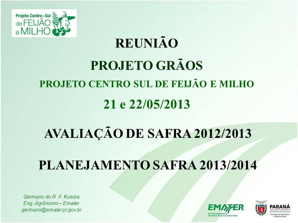 AVALIAÇÃO DE SAFRA 2012/2013 PLANEJAMENTO SAFRA 2013/2014 REUNIÃO PROJETO GRÃOS PROJETO CENTRO SUL DE FEIJÃO E MILHO 21 e 22/05/2013 Germano do R. F.