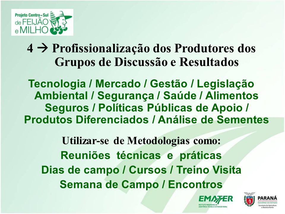 4 Profissionalização dos Produtores dos Grupos de Discussão e Resultados Tecnologia / Mercado / Gestão / Legislação Ambiental / Segurança / Saúde / Al
