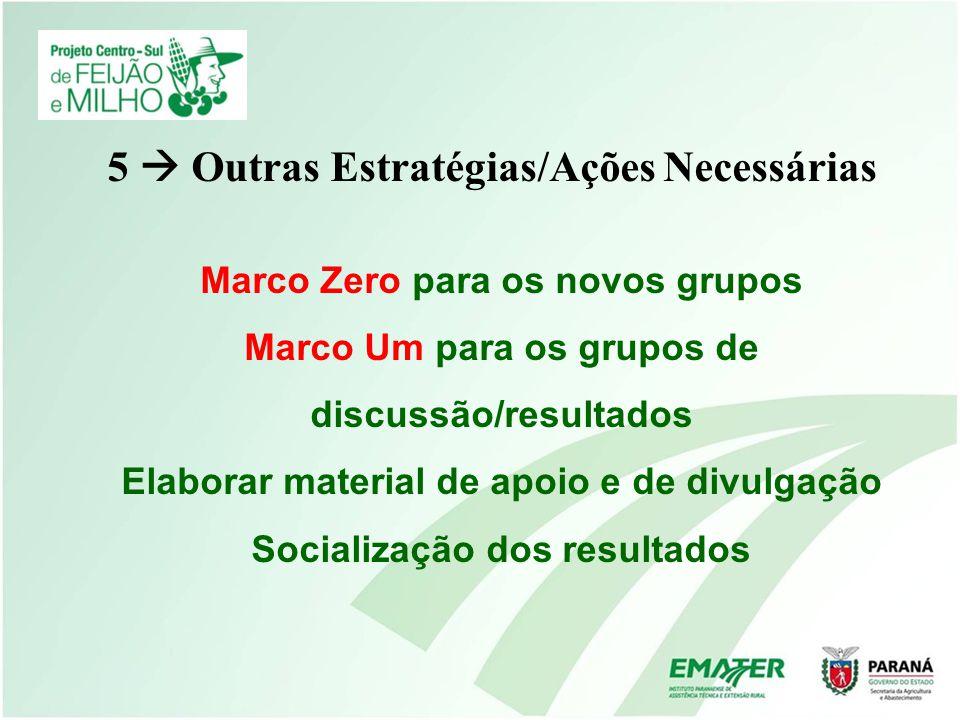 5 Outras Estratégias/Ações Necessárias Marco Zero para os novos grupos Marco Um para os grupos de discussão/resultados Elaborar material de apoio e de
