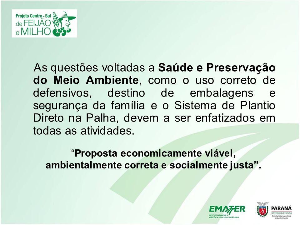 As questões voltadas a Saúde e Preservação do Meio Ambiente, como o uso correto de defensivos, destino de embalagens e segurança da família e o Sistem