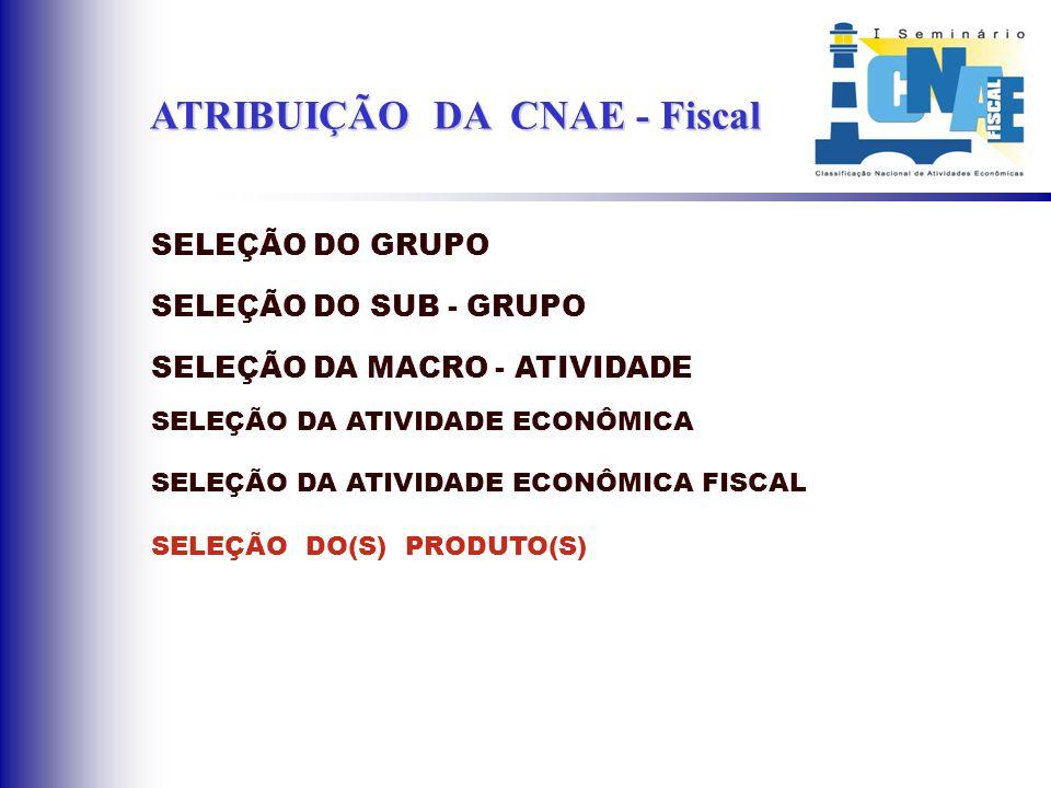 ATRIBUIÇÃO DA CNAE - Fiscal SELEÇÃO DO GRUPO SELEÇÃO DO SUB - GRUPO SELEÇÃO DA MACRO - ATIVIDADE SELEÇÃO DA ATIVIDADE ECONÔMICA SELEÇÃO DA ATIVIDADE E
