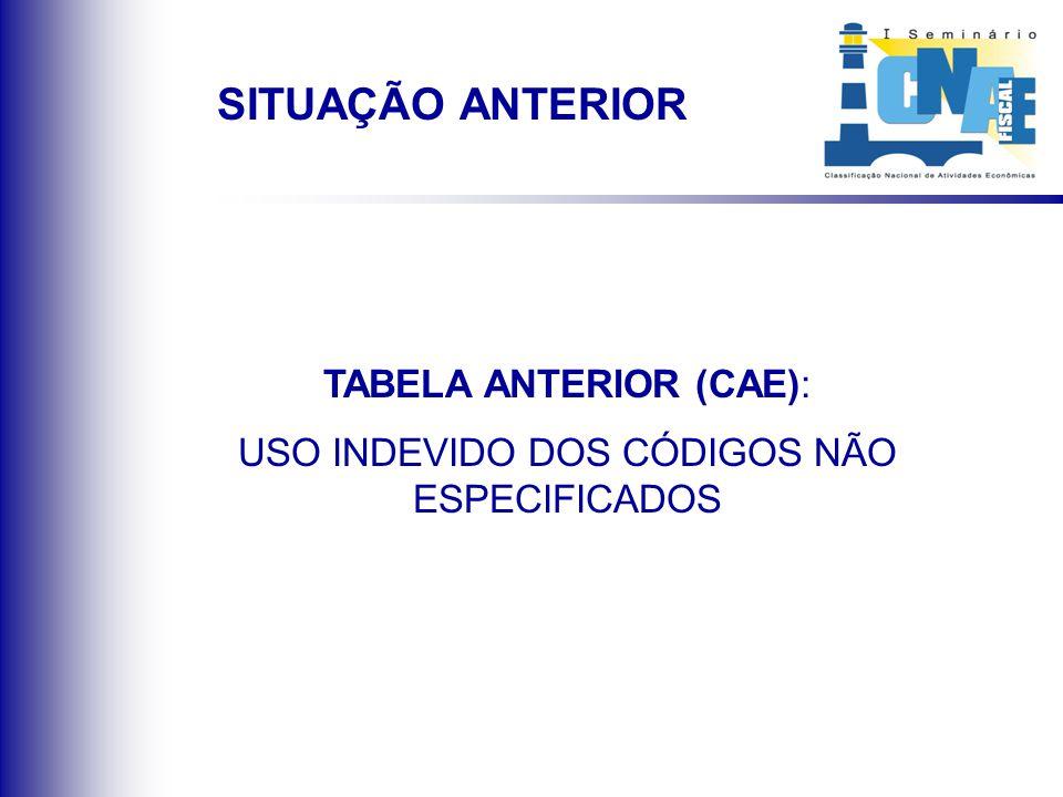 TABELA ANTERIOR (CAE): USO INDEVIDO DOS CÓDIGOS NÃO ESPECIFICADOS SITUAÇÃO ANTERIOR