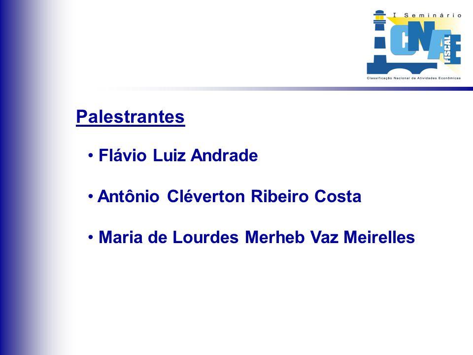 Palestrantes Flávio Luiz Andrade Antônio Cléverton Ribeiro Costa Maria de Lourdes Merheb Vaz Meirelles