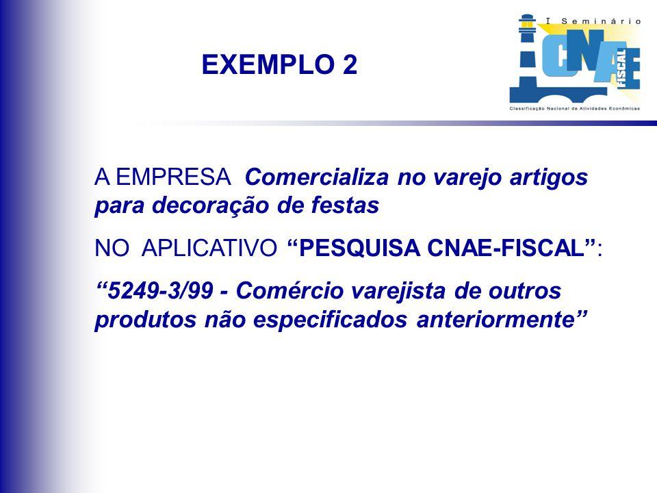 A EMPRESA Comercializa no varejo artigos para decoração de festas NO APLICATIVO PESQUISA CNAE-FISCAL: 5249-3/99 - Comércio varejista de outros produto