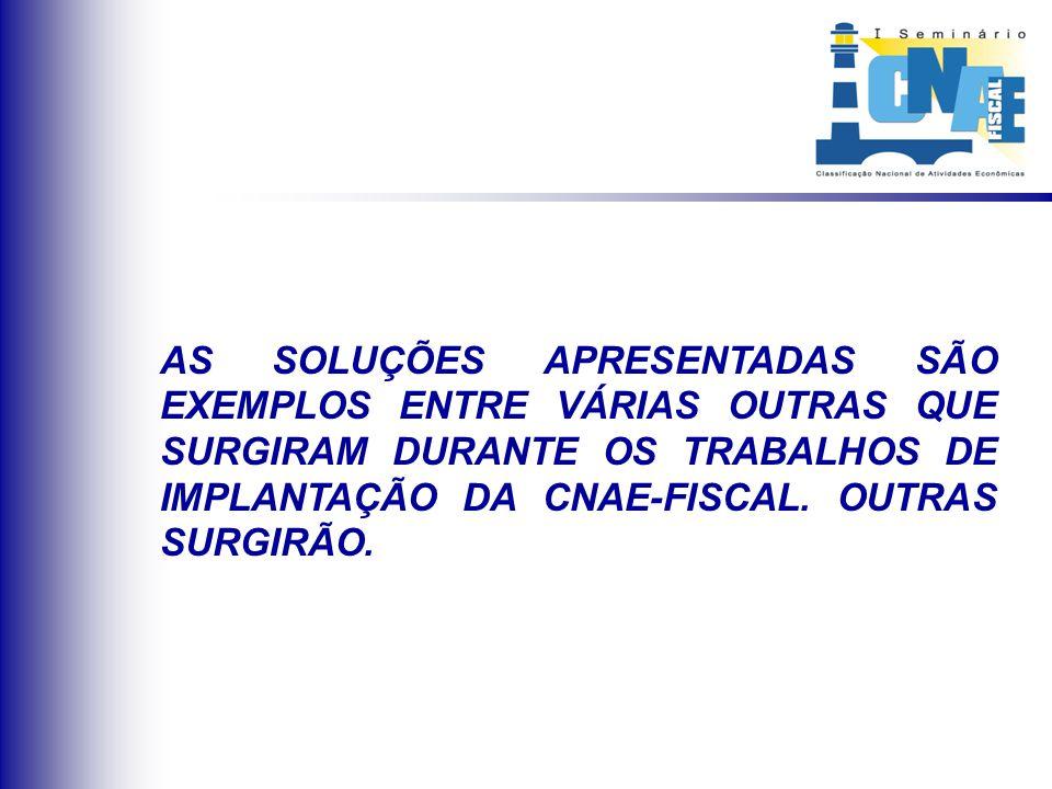 AS SOLUÇÕES APRESENTADAS SÃO EXEMPLOS ENTRE VÁRIAS OUTRAS QUE SURGIRAM DURANTE OS TRABALHOS DE IMPLANTAÇÃO DA CNAE-FISCAL. OUTRAS SURGIRÃO.