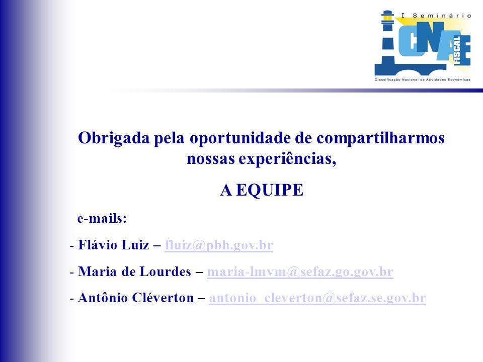 Obrigada pela oportunidade de compartilharmos nossas experiências, A EQUIPE e-mails: - Flávio Luiz – fluiz@pbh.gov.brfluiz@pbh.gov.br - Maria de Lourd