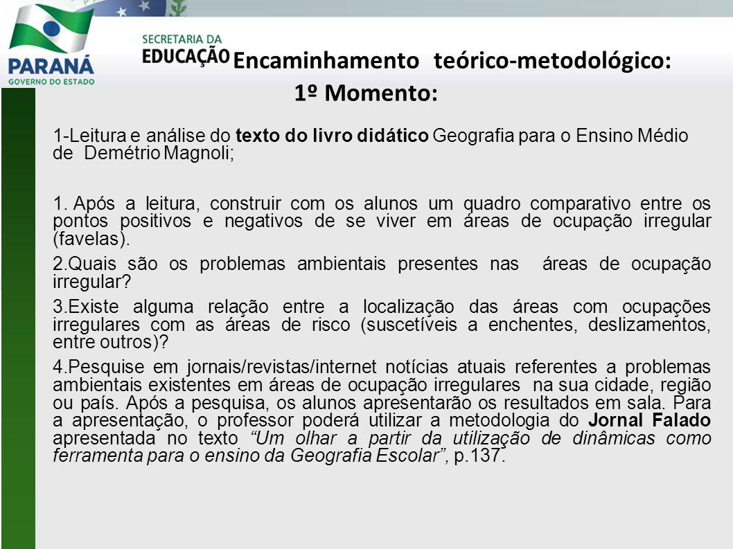 Encaminhamento teórico-metodológico: 1º Momento: 1-Leitura e análise do texto do livro didático Geografia para o Ensino Médio de Demétrio Magnoli; 1.