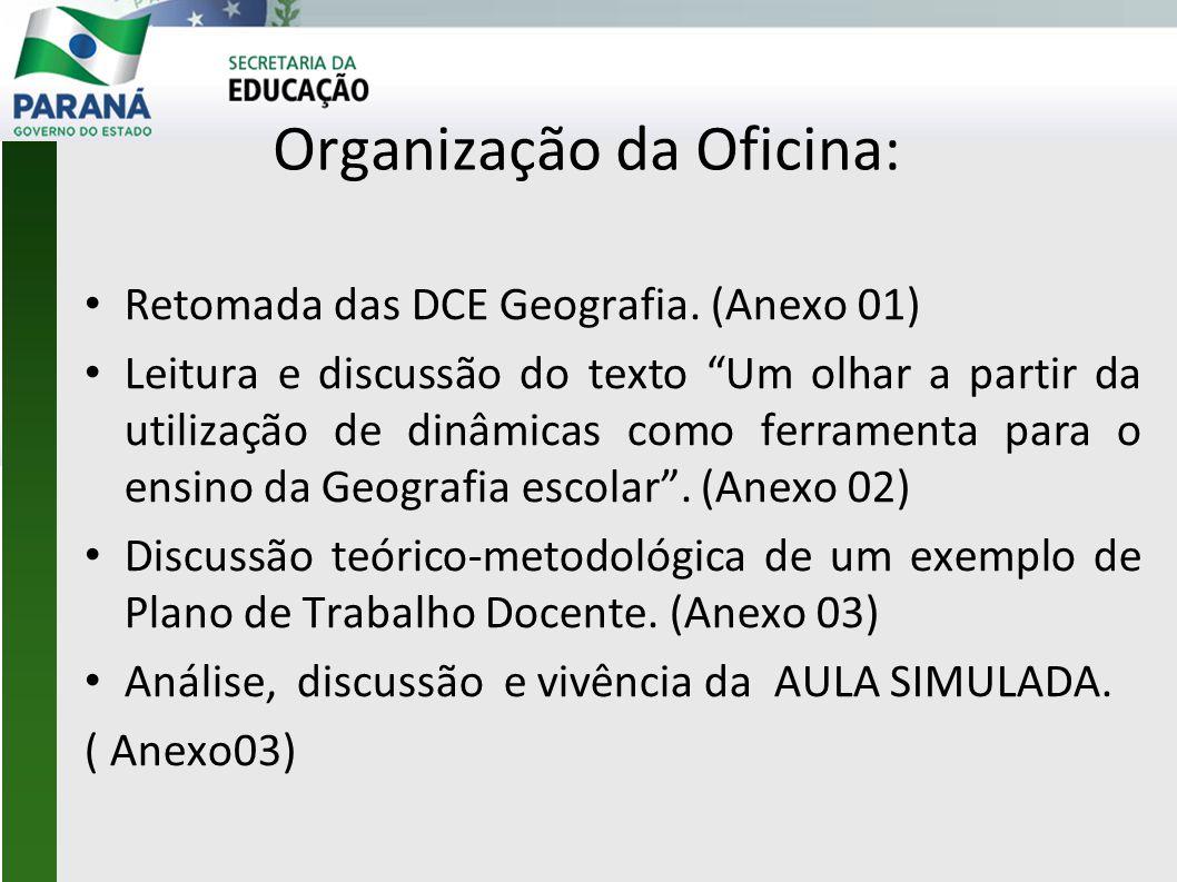 Organização da Oficina: Retomada das DCE Geografia. (Anexo 01) Leitura e discussão do texto Um olhar a partir da utilização de dinâmicas como ferramen