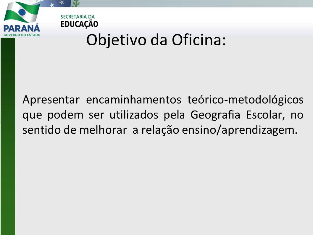 Objetivo da Oficina: Apresentar encaminhamentos teórico-metodológicos que podem ser utilizados pela Geografia Escolar, no sentido de melhorar a relaçã