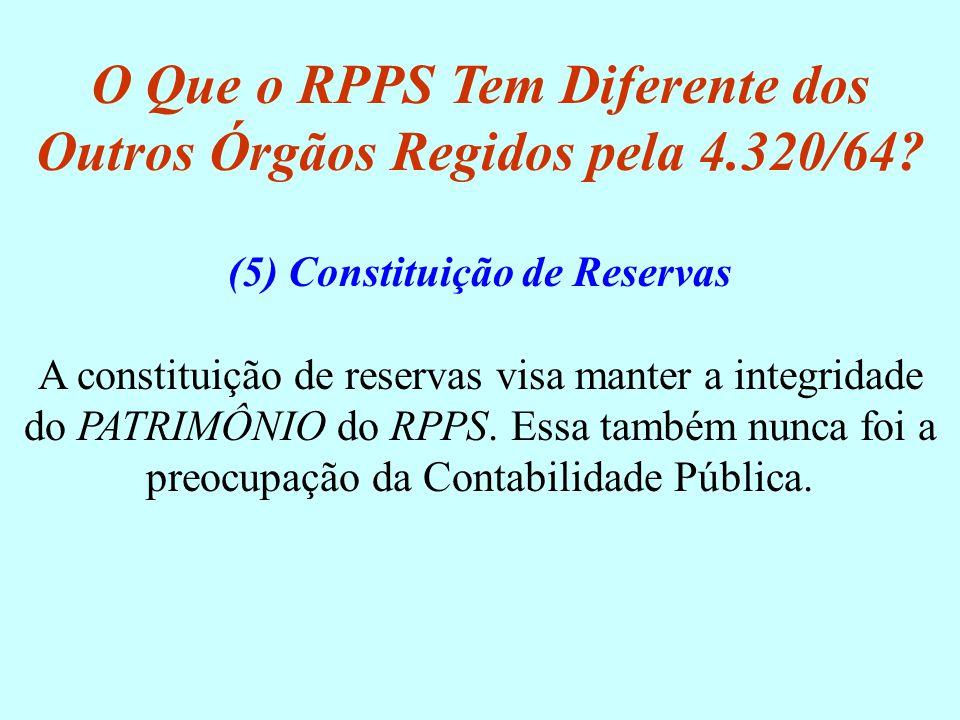 (5) Constituição de Reservas A constituição de reservas visa manter a integridade do PATRIMÔNIO do RPPS. Essa também nunca foi a preocupação da Contab