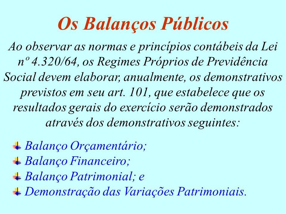 Ao observar as normas e princípios contábeis da Lei nº 4.320/64, os Regimes Próprios de Previdência Social devem elaborar, anualmente, os demonstrativ