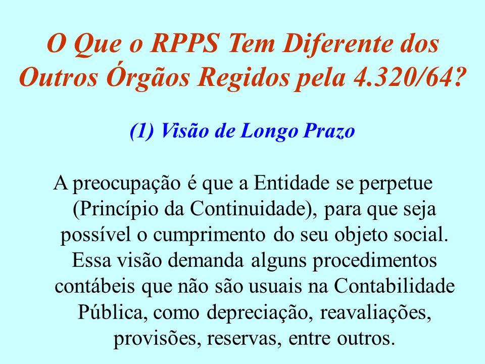 O Que o RPPS Tem Diferente dos Outros Órgãos Regidos pela 4.320/64? (1) Visão de Longo Prazo A preocupação é que a Entidade se perpetue (Princípio da