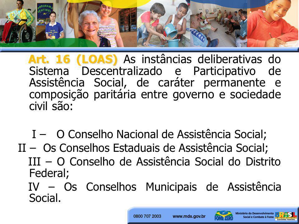 Art. 16 (LOAS) Art. 16 (LOAS) As instâncias deliberativas do Sistema Descentralizado e Participativo de Assistência Social, de caráter permanente e co