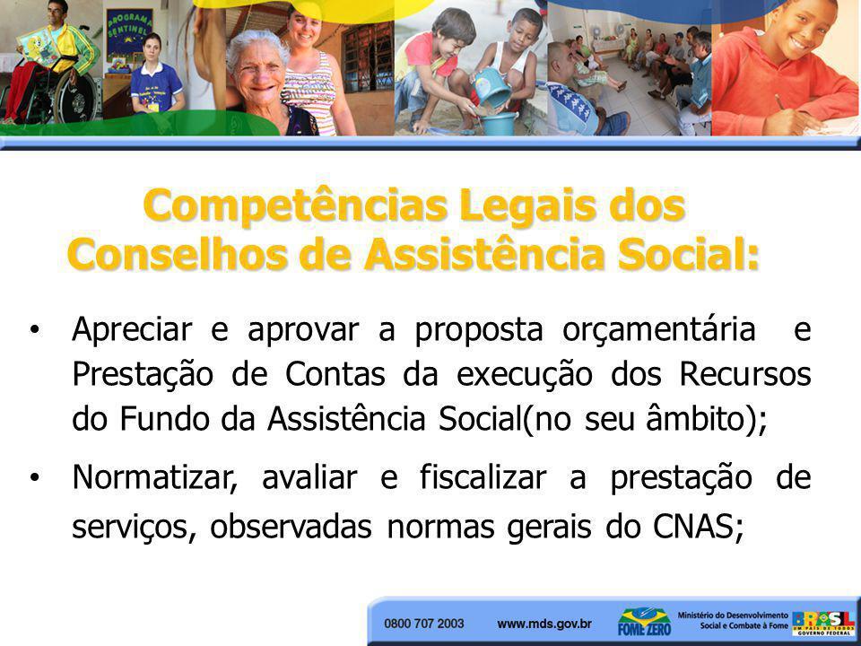 Apreciar e aprovar a proposta orçamentária e Prestação de Contas da execução dos Recursos do Fundo da Assistência Social(no seu âmbito); Normatizar, a