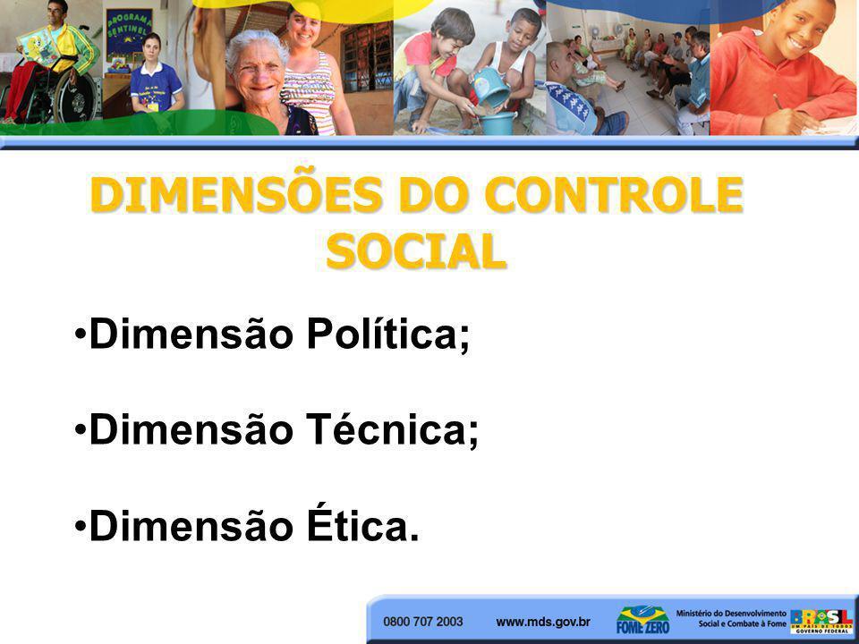 DIMENSÕES DO CONTROLE SOCIAL Dimensão Política; Dimensão Técnica; Dimensão Ética.