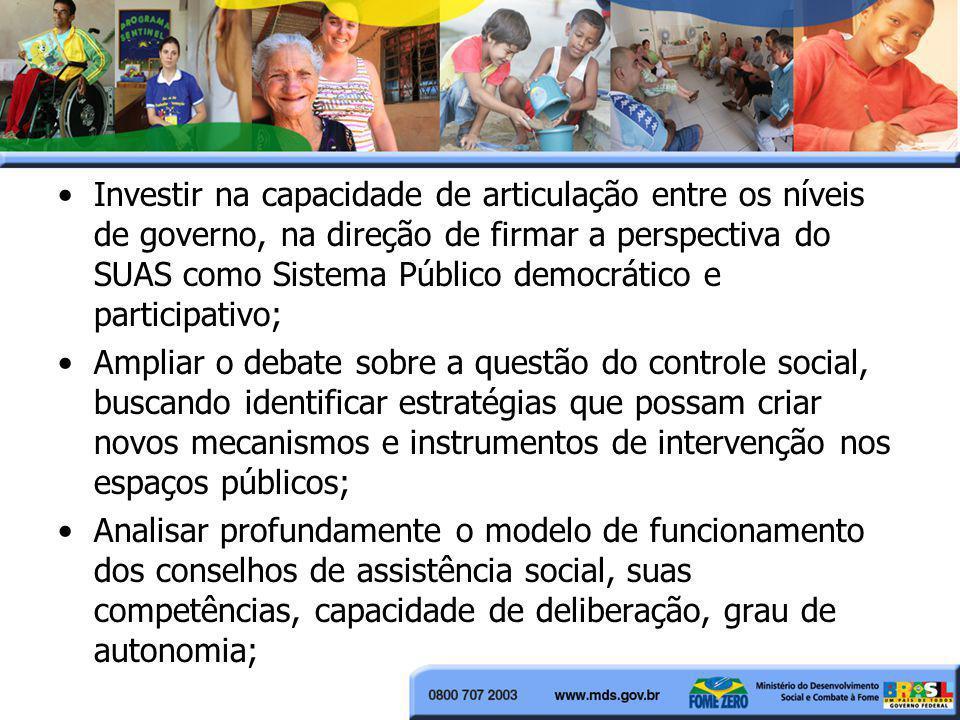 Investir na capacidade de articulação entre os níveis de governo, na direção de firmar a perspectiva do SUAS como Sistema Público democrático e partic