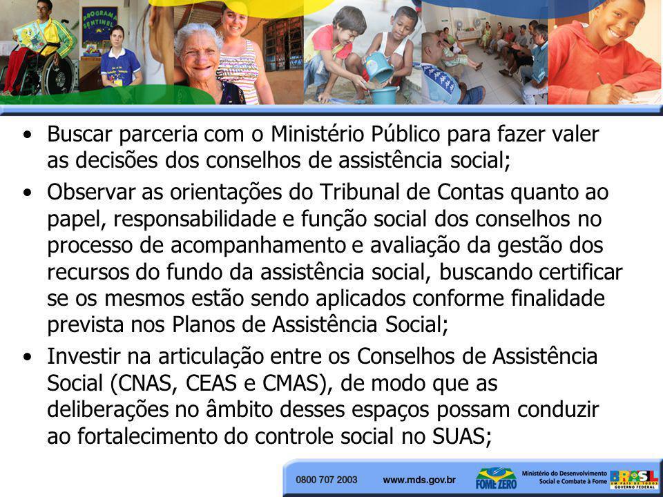 Buscar parceria com o Ministério Público para fazer valer as decisões dos conselhos de assistência social; Observar as orientações do Tribunal de Cont