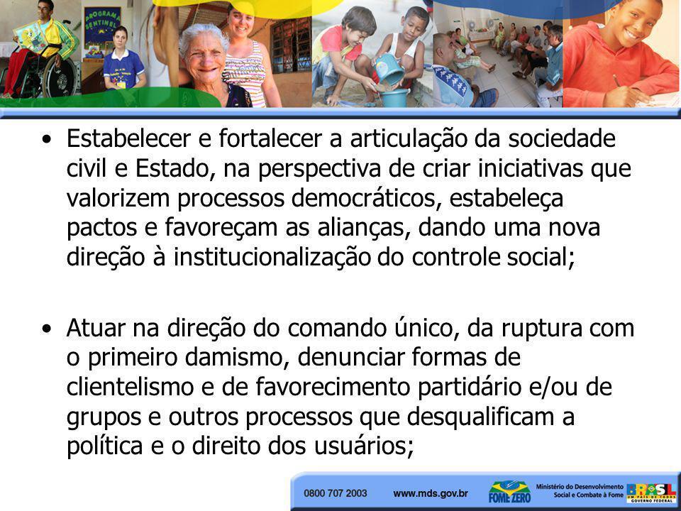 Estabelecer e fortalecer a articulação da sociedade civil e Estado, na perspectiva de criar iniciativas que valorizem processos democráticos, estabele