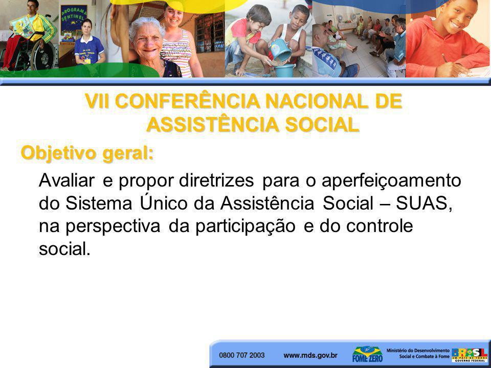 VII CONFERÊNCIA NACIONAL DE ASSISTÊNCIA SOCIAL Objetivo geral: Avaliar e propor diretrizes para o aperfeiçoamento do Sistema Único da Assistência Soci