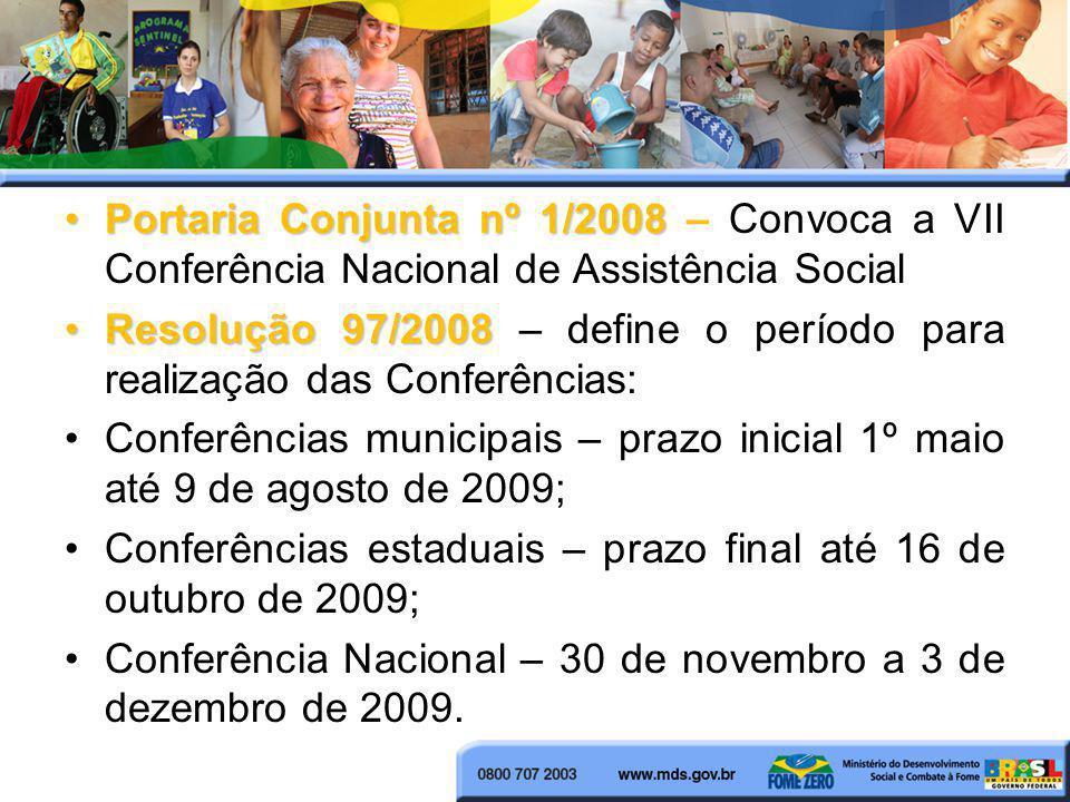 Portaria Conjunta nº 1/2008Portaria Conjunta nº 1/2008 – Convoca a VII Conferência Nacional de Assistência Social Resolução 97/2008Resolução 97/2008 –