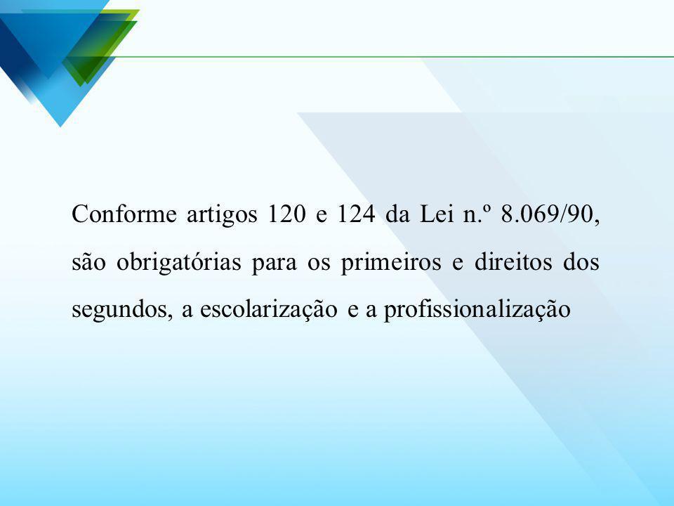 Conforme artigos 120 e 124 da Lei n.º 8.069/90, são obrigatórias para os primeiros e direitos dos segundos, a escolarização e a profissionalização