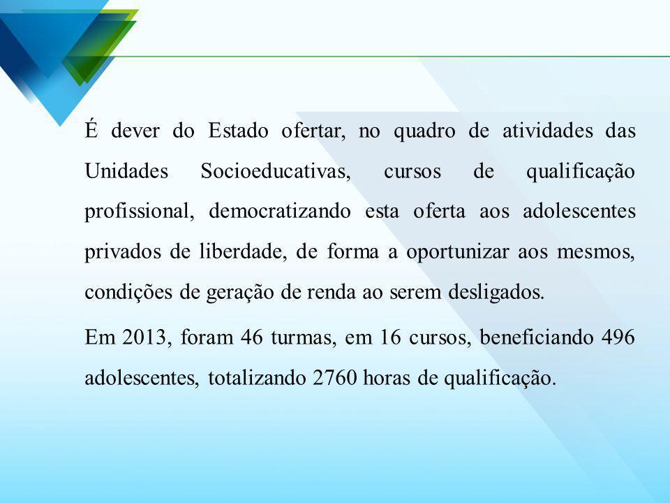 É dever do Estado ofertar, no quadro de atividades das Unidades Socioeducativas, cursos de qualificação profissional, democratizando esta oferta aos a