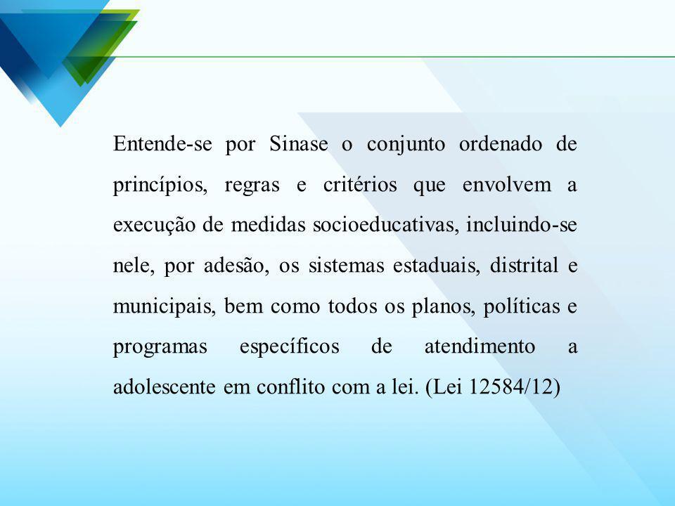 O Sinase constitui-se de uma política pública destinada à inclusão do adolescente em conflito com a lei que se correlaciona e demanda iniciativas dos diferentes campos das políticas públicas e sociais
