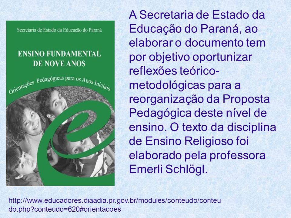 A Secretaria de Estado da Educação do Paraná, ao elaborar o documento tem por objetivo oportunizar reflexões teórico- metodológicas para a reorganizaç