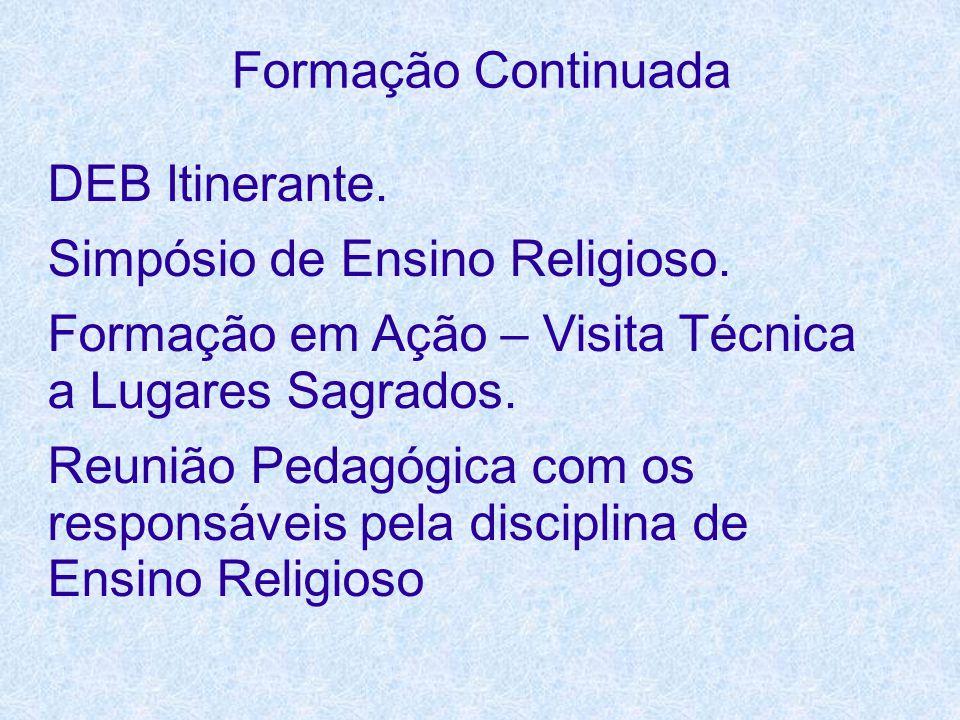 Formação Continuada DEB Itinerante. Simpósio de Ensino Religioso. Formação em Ação – Visita Técnica a Lugares Sagrados. Reunião Pedagógica com os resp