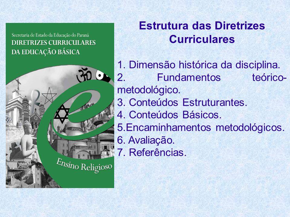Estrutura das Diretrizes Curriculares 1. Dimensão histórica da disciplina. 2. Fundamentos teórico- metodológico. 3. Conteúdos Estruturantes. 4. Conteú