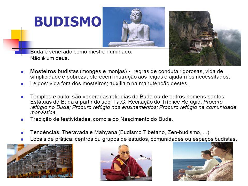 BUDISMO Buda é venerado como mestre iluminado. Não é um deus. Mosteiros budistas (monges e monjas) - regras de conduta rigorosas, vida de simplicidade