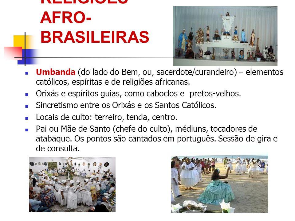 RELIGIÕES AFRO- BRASILEIRAS Umbanda (do lado do Bem, ou, sacerdote/curandeiro) – elementos católicos, espíritas e de religiões africanas. Orixás e esp