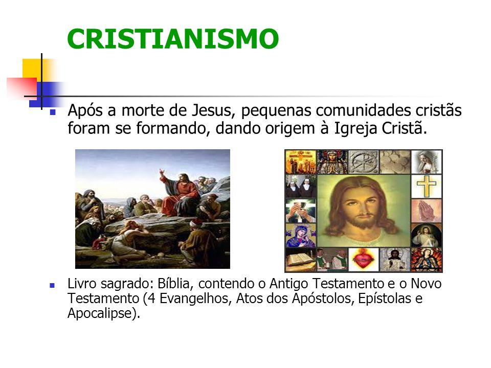 CRISTIANISMO Após a morte de Jesus, pequenas comunidades cristãs foram se formando, dando origem à Igreja Cristã. Livro sagrado: Bíblia, contendo o An