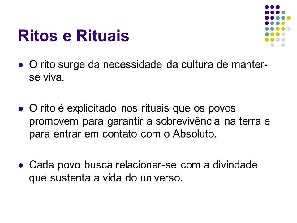 Ritos e Rituais O rito surge da necessidade da cultura de manter- se viva. O rito é explicitado nos rituais que os povos promovem para garantir a sobr