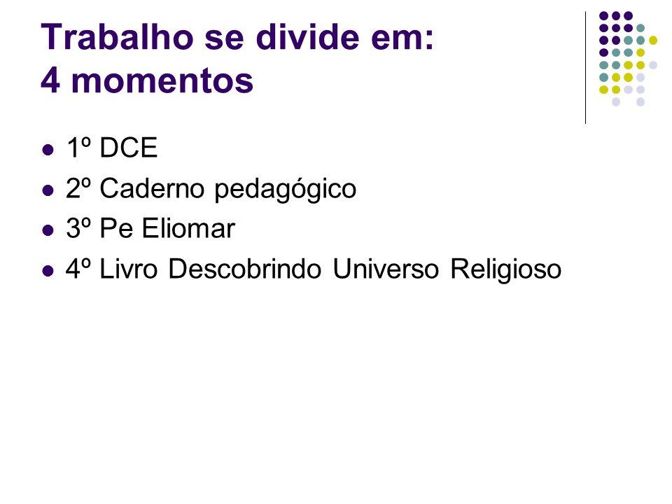 Trabalho se divide em: 4 momentos 1º DCE 2º Caderno pedagógico 3º Pe Eliomar 4º Livro Descobrindo Universo Religioso