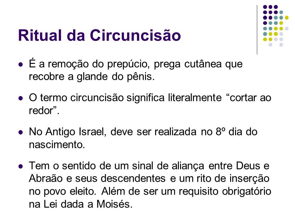 Ritual da Circuncisão É a remoção do prepúcio, prega cutânea que recobre a glande do pênis. O termo circuncisão significa literalmente cortar ao redor