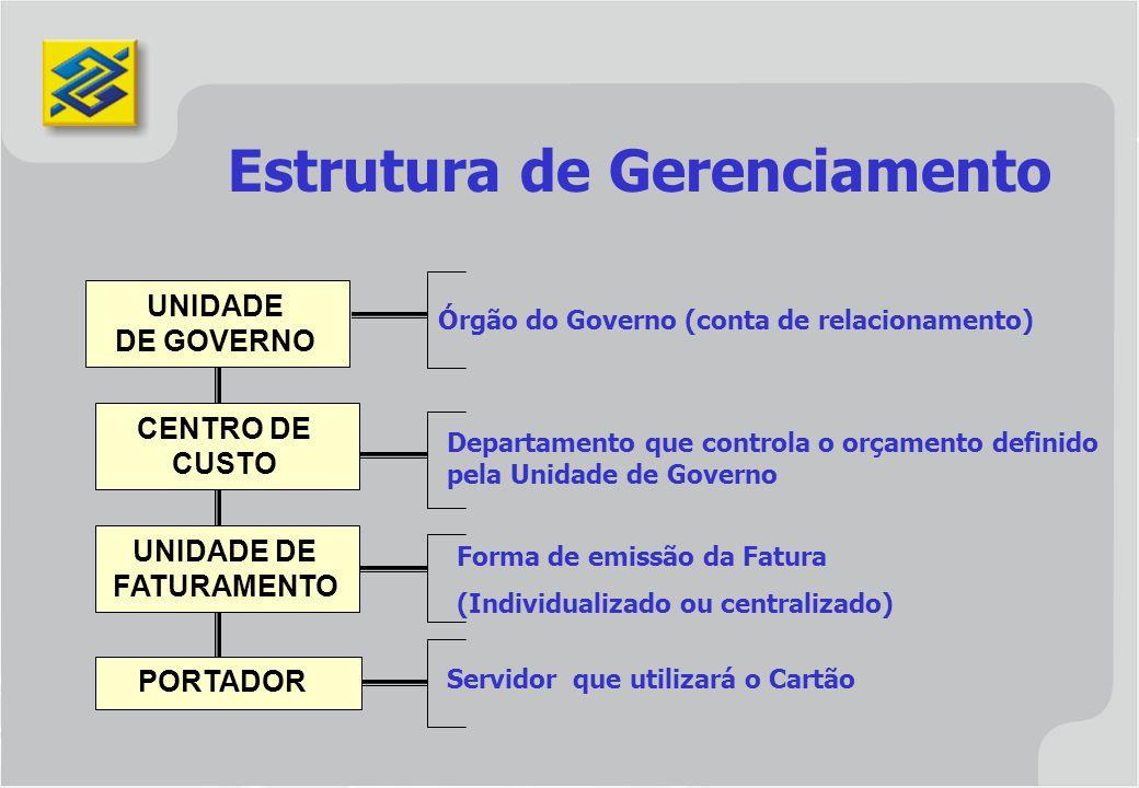 UNIDADE DE GOVERNO CENTRO DE CUSTO UNIDADE DE FATURAMENTO PORTADOR Estrutura de Gerenciamento Órgão do Governo (conta de relacionamento) Departamento